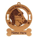 4188 Treeing Walker Coonhound Head Ornament Personalized with Your Dog's Name