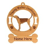 4189 Treeing Walker Coonhound Standing #2 Ornament Personalized with Your Dog's Name