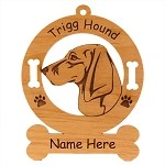 4190 Trigg Hound Head Ornament Personalized with Your Dog's Name