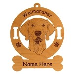 4200 Weimaraner Head Ornament Personalized with Your Dog's Name
