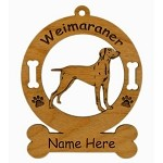 4201 Weimaraner Standing Ornament Personalized with Your Dog's Name