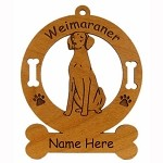 4202 Weimaraner Sitting Ornament Personalized with Your Dog's Name
