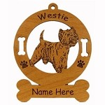 4216 Westie Standing 2 Ornament Personalized with Your Dog's Name
