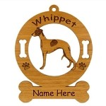 4225 Whippet Standing Ornament Personalized with Your Dog's Name