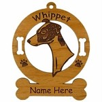 4227 Whippet Head 2 Ornament Personalized with Your Dog's Name