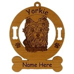 4255 Yorkie Head Ornament Personalized with Your Dog's Name
