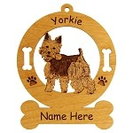 4256 Yorkie with a Bone Ornament Personalized with Your Dog's Name