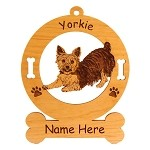 4259 Yorkie Bowing Ornament Personalized with Your Dog's Name