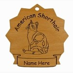 7039 American Shorthair Cat Ornament Personalized with Your Cat's Name