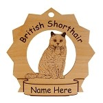 7104 British Shorthair Cat Sitting Ornament Personalized with Your Cat's Name
