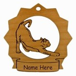7129 Cat Stretching Ornament Personalized with Your Cat's Name
