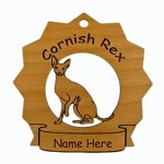 7142 Cornish Rex Cat Ornament Personalized with Your Cat's Name