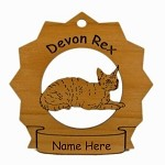 7157 Devon Rex Cat Ornament Personalized with Your Cat's Name