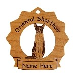7276 Oriental Shorthair Cat Sitting Ornament Personalized with Your Cat's Name