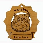 7287 Persian Cat Head Ornament Personalized with Your Cat's Name