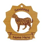 7359 Savannah Cat Standing Ornament Personalized with Your Cat's Name