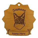 7390 Siamese Cat Ornament Personalized with Your Cat's Name