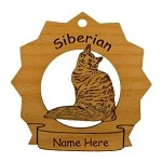 7403 Siberian Cat Ornament Personalized with Your Cat's Name