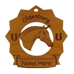 8198 Oldenburg Horse Ornament Personalized with Your Horse's Name