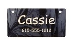 Black Marble Design Crate Tag Personalized With Your Dog's Name