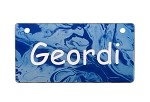 Blue Marble Design Crate Tag Personalized With Your Dog's Name