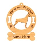 3103 Doberman Standing Female Ornament Personalized with Your Dog's Name
