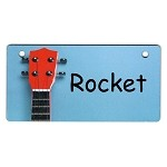 Guitar on Blue Design Crate Tag Personalized With Your Dog's Name