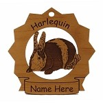Harlequin Rabbit Ornament Personalized with Your Rabbit's Name