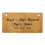 Harvest Gold Marble Design Crate Tag Personalized With Your Dog's Name