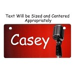 Microphone on Red Design Crate Tag Personalized With Your Dog's Name