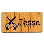 Western Crossed Guns Design Crate Tag Personalized With Your Dog's Name