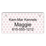 White with Pink Flowers Design Crate Tag Personalized With Your Dog's Name