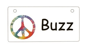 Tie Dye Peace Sign Crate Tag Personalized With Your Dog's Name