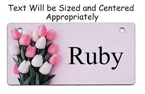 Tulips on Pink Design Crate Tag Personalized With Your Dog's Name