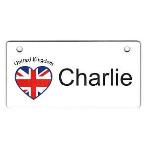 United Kingdom Heart Flag Crate Tag Personalized With Your Dog's Name